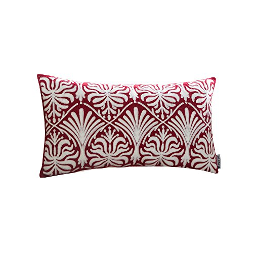 HWY 50 Wine Red Throw Pillow Covers For Couch / Bed 12 x 20 inch , 1 Piece Cotton Canvas Embroidered Home Decorative Sofa Throw Pillows case , European Geometric Floral Pattern Pillowcases
