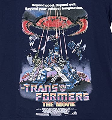TruffleShuffle Womens Navy Transformers Retro Movie Poster Scoop Neck T Shirt