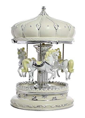 Ornamental Decorative LED Beige Carousel Horse Music Box with Castle Design Roof- (Mini Horse Gift Box)