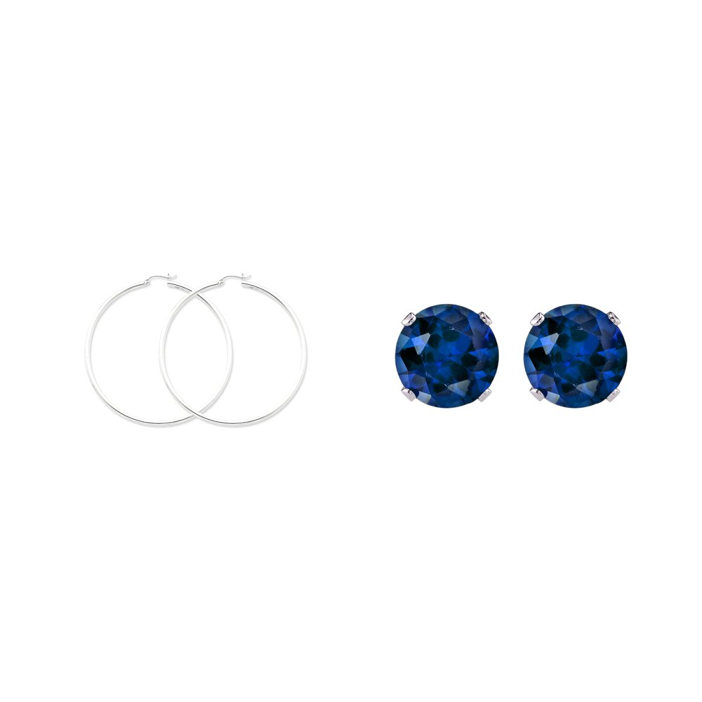 KC Jewelry Sterling Silver 2.5mm Round Hoop Earrings and a pair of Blue 4mm CZ Stud Earrings