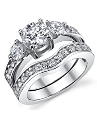 Metal Masters Co.® 0.75 Carat Round CZ Past, Present, Future Sterling Silver 925 Wedding Engagement Ring Band Set