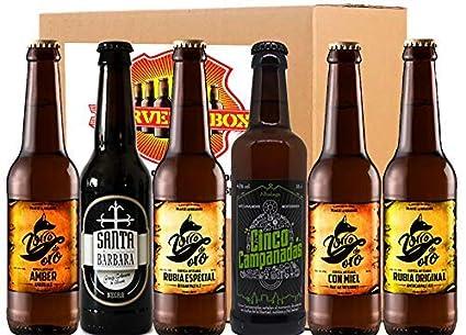 Pack Degustacion Regalo 6 Cervezas Artesanas Alicante Zorro Oro - Campanadas - Santa Barbara IPA Tostada Negra Rubia Stout Cerveza Box