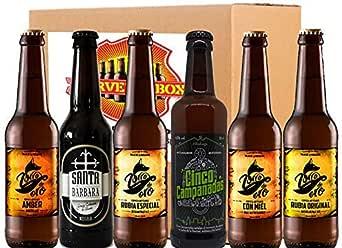 Pack Degustacion Regalo 6 Cervezas Artesanas Alicante Zorro Oro - Campanadas - Santa Barbara IPA Tostada Negra Rubia Stout Cerveza Box: Amazon.es: Alimentación y bebidas
