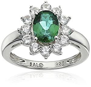 Sterling Silver Created Emerald and Created White Sapphire Ring, Size 6