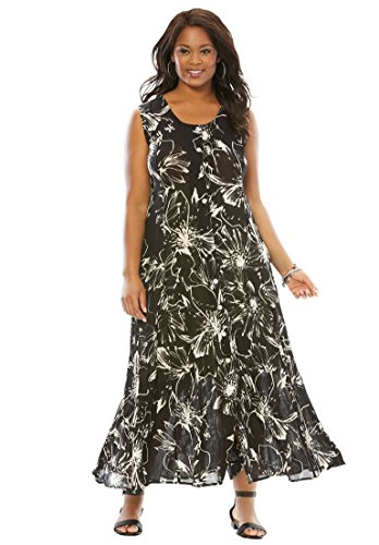 Roamans Women's Plus Size Button-Front Crinkle Dress Black Abstract Floral Abstract Button