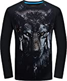 Boys' Spring Autumn Crewneck Long-Sleeved T Shirt Printed Wolf Black X-Large Not for Men Recommend Strongly Choosing Two Larger Size Than Usual