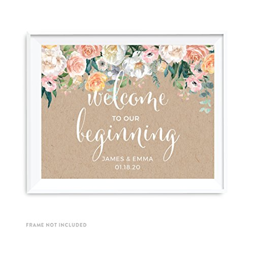 Andaz Press Peach Kraft Brown Rustic Floral Garden Party Wedding Collection, Personalized Party Signs, Welcome to our Beginning, 8.5x11-inch, 1-Pack, Custom Made Any Name ()