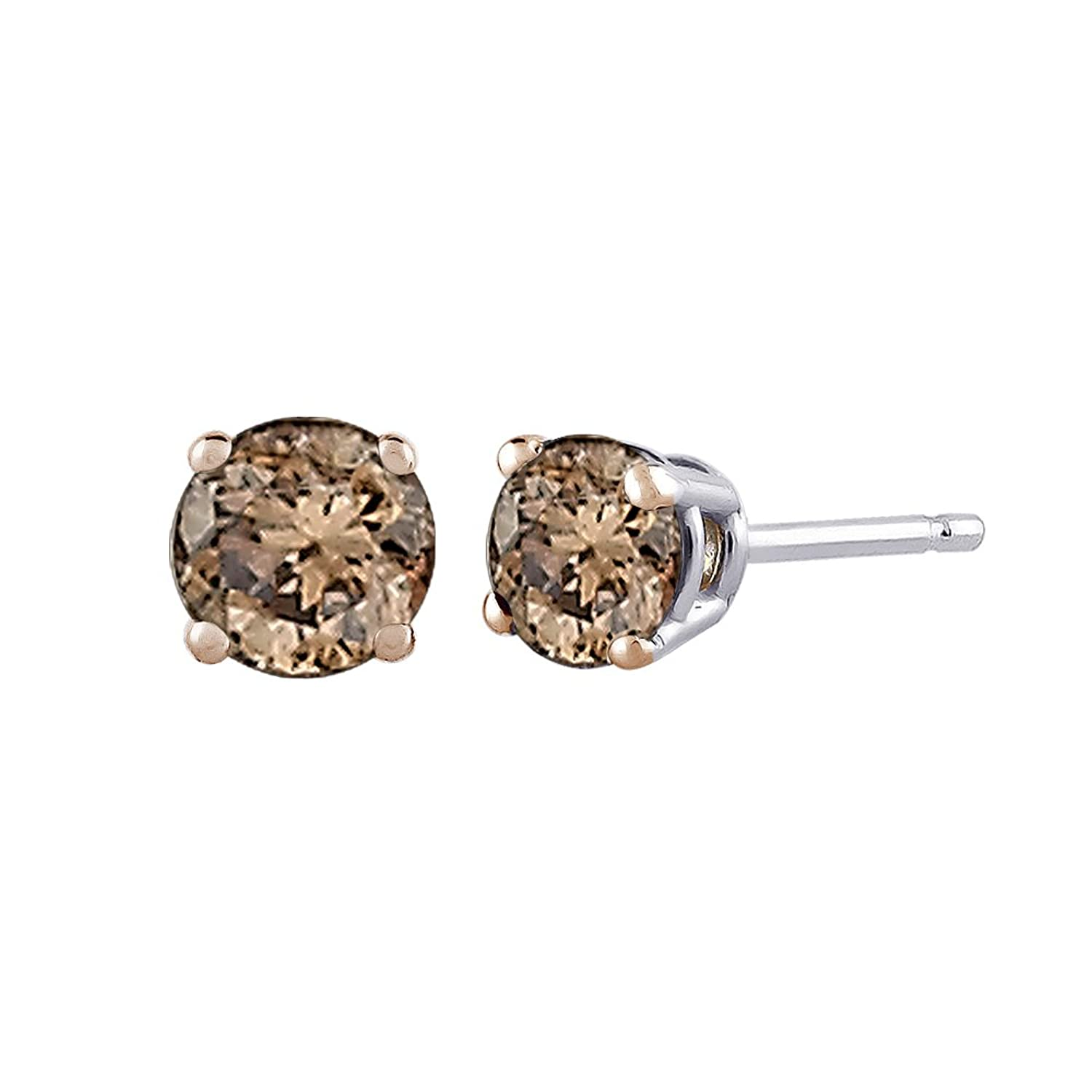 small daisy champagne with accents brown diamonds sofrmrblb dasy diamond earrings blossoms button blossom sterling and gold silver stud y products buccellati