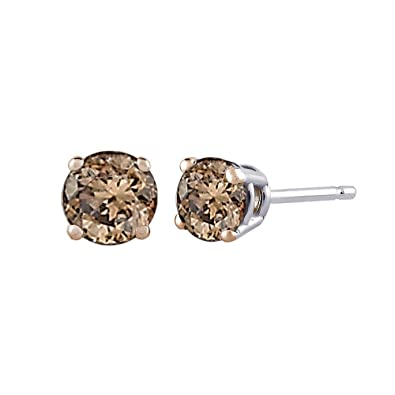 Buy Brown Round Brilliant Cut Diamond Earring Studs In 14k White Gold 1 Cttw At Amazon In
