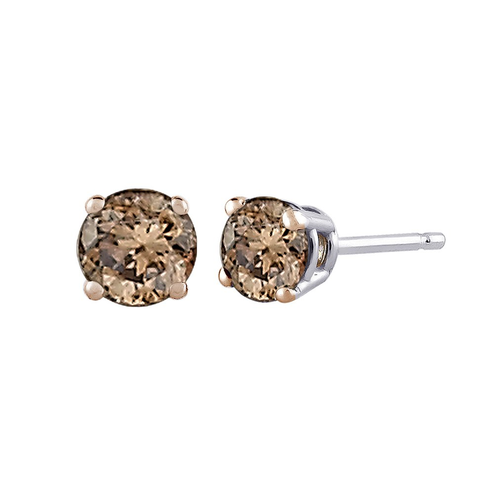Brown / Champagne Round Brilliant Cut Diamond Earring Studs in 14K White Gold (1/2 cttw)