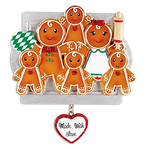 Made with Love Gingerbread Family Personalized Christmas Ornament (Family of 6 DIY ()