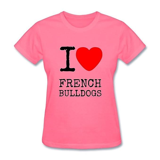 jonnert de la mujer I Love Bulldog Francés camiseta de manga corta T