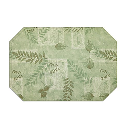 Boxed Fern Vinyl Table Linen Indoor Outdoor, 18-Inch by 11.75-Inch Placemats, Sage 4-Pack