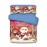 Christmas Snowman Gift Tree Santa Bed Sheet Set Full Size 3pcs