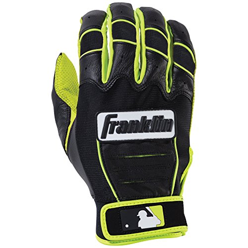 Franklin Sports MLB CFX Pro Revolt Series Batting Gloves, Optic Yellow/Black, Youth Large - Road Adult Batting Glove