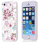 iphone 5 case vintage floral - 5S case,Hungo Compatible Soft Tpu Silicone Protective Cover Case Replacement For Iphone 5S/5/SE purple big beautiful vintage freshing small rose art texture floral pattern