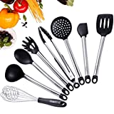 Silicone Kitchen Utensils, iSolem 8 Piece Cooking Utensils Set Nonstick Stainless Steel Kitchen Tools – Serving Tongs, Spoon, Flex Spatula, Pasta Server, Ladle, Strainer, Whisk, Spatula Tool