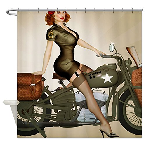 vintage motorcycle shower curtain - 7