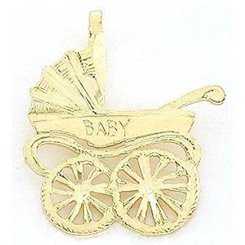 14K Gold Baby Carriage Charm Diamond-Cut Jewelry 15mm