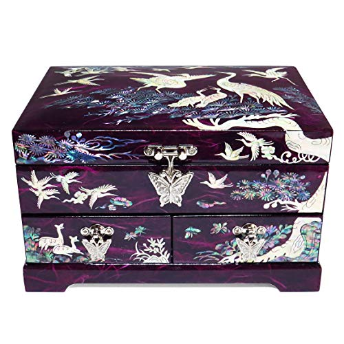 (Hand Made Jewelry Box Ring Organizer Mother of Pearl Sea Shell Inlaid 2 Level 2 Drawers Mirror Lid Cranes Design (Purple))