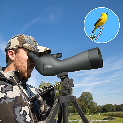 Emarth 20-60x60AE Waterproof Angled Spotting Scope with Tripod, 45-Degree Angled Eyepiece, Optics Zoom 39-19m/1000m Army Green