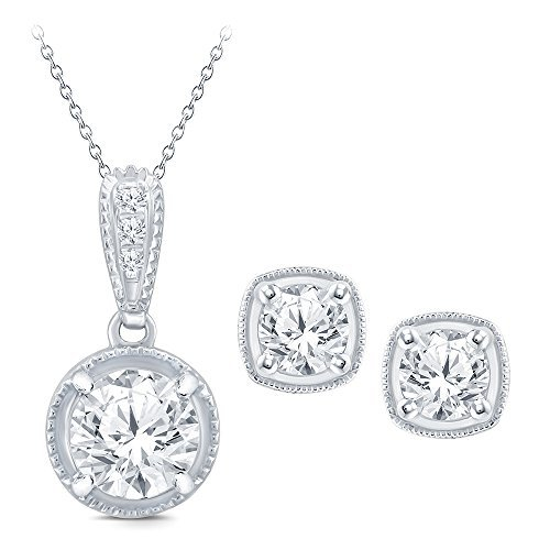 La Joya Round White Simulated CZ Diamond Sterling Silver Bridesmaid Bridal Pendant Earring Jewelry Set