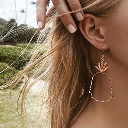 1 Pair Fashion Women Rose Gold Geometry Hollow Cute Pineapple Hook Earrings