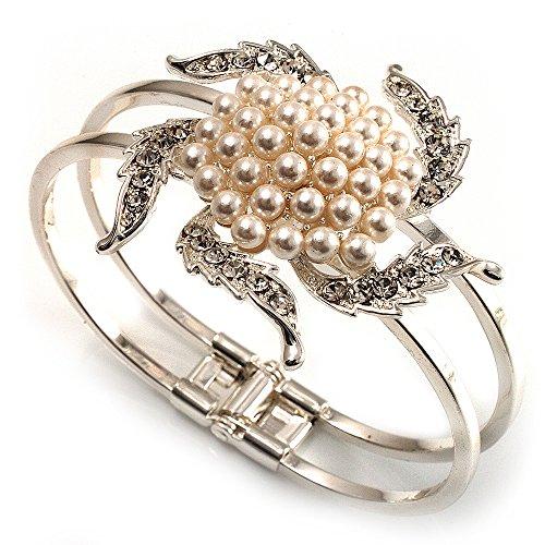 UPC 634558674088, Bridal Imitation Pearl Flower Hinged Bangle Bracelet (Silver Tone)