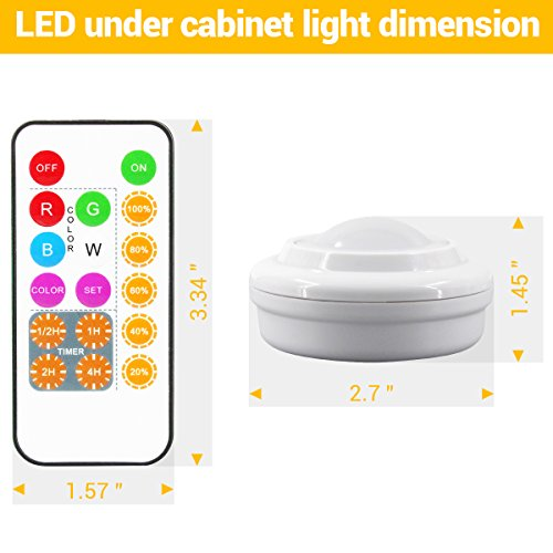 Wireless LED Closet Lights, RGB Color Changing Puck Light with Remote Control, Touch Sensor LED Night Light, Battery Operated Under Cabinet Light - 6 Pack (18 PCS Battery Included) by Best World LED (Image #3)