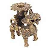 Indian Shelf Handmade Antique Gold Old Fu Dog Candle Holder Puja/Home/Christmas/Diwali Décoration-1 Piece
