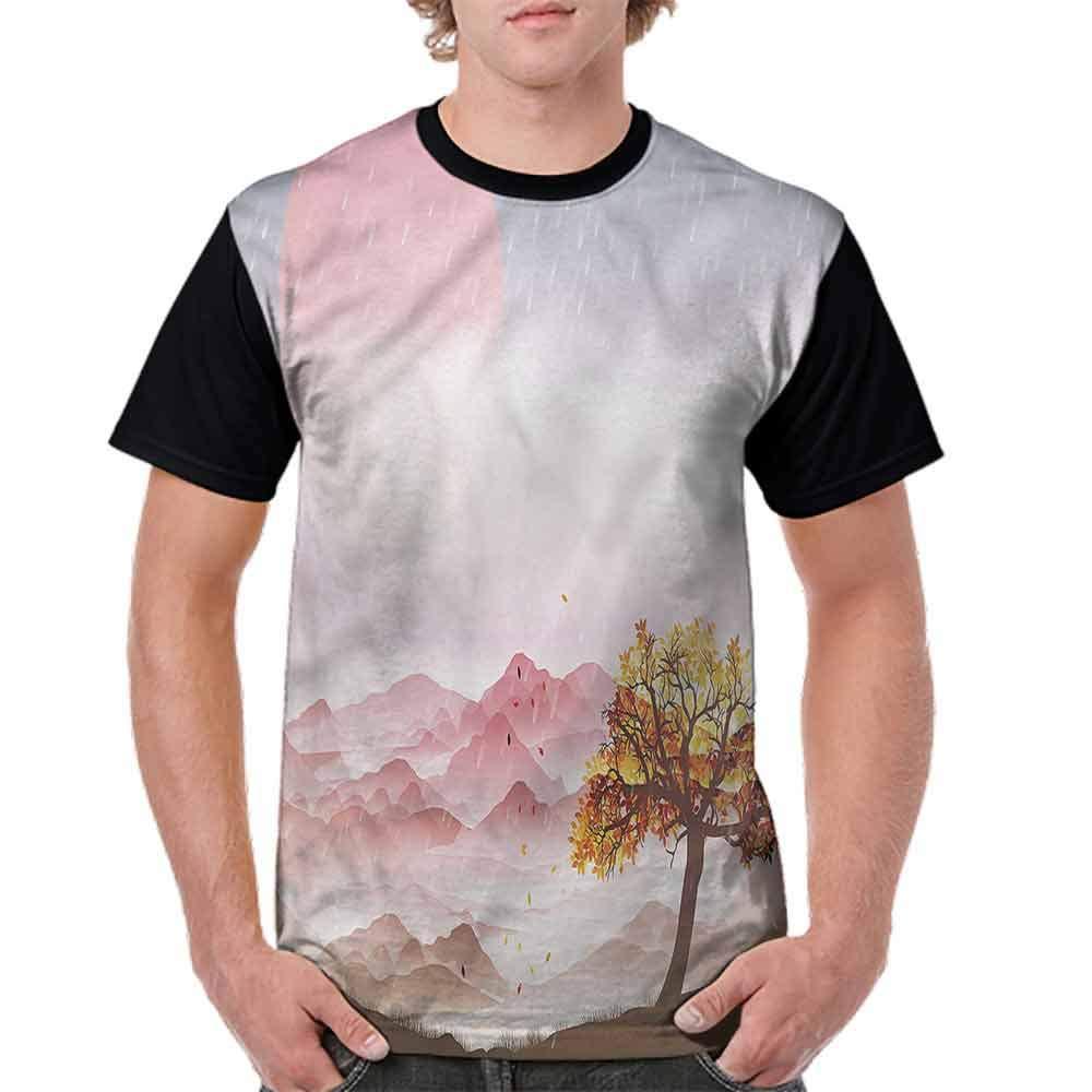 Round Neck T-Shirt,Romantic Rainy Nature Fashion Personality Customization