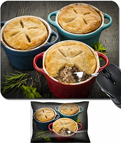 Beef Filling - MSD Mouse Wrist Rest and Small Mousepad Set, 2pc Wrist Support design: 30187426 Three homemade gourmet meat pies with fork in ground beef filling on rustic wood background