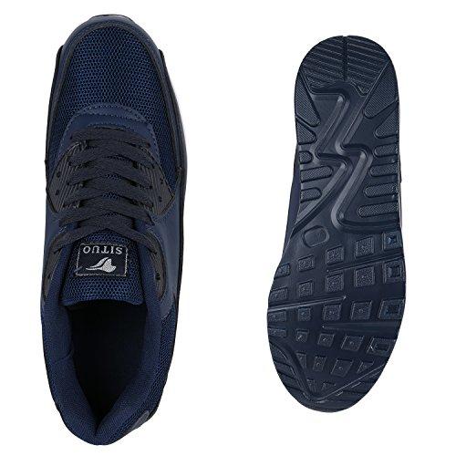 Stiefelparadies Herren Sportschuhe Laufschuhe Leder-Optik Materialmix Stoff Sneakers Sneaker Runners Profilsohle Trainers Flandell Dunkelblau Weiß