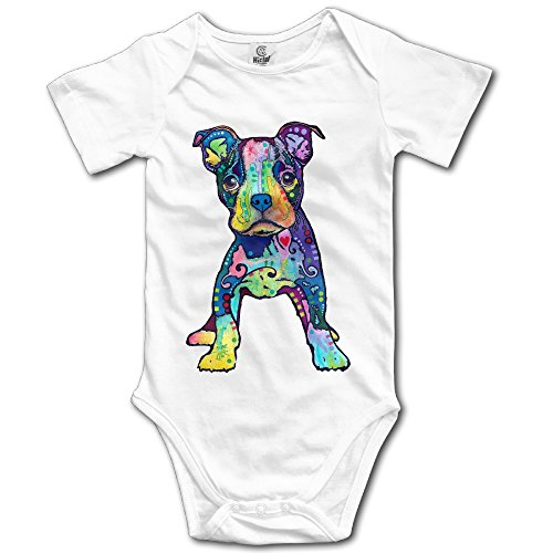[Infants Boy's & Girl's Puppy Graffiti Pop-Art Rainbow Colors Short Sleeve Bodysuit Outfits For 6-24 Months White] (Pop Art Girl Costume Outfit)