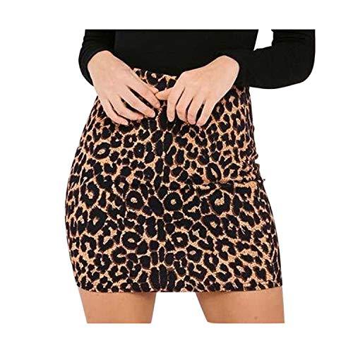 (Processes Harajuku Sexy Leopard Print Denim Skirt womenhigh Waist Pencil Skirt Streetwear Fashion Casual Mini Skirt Female Brown)