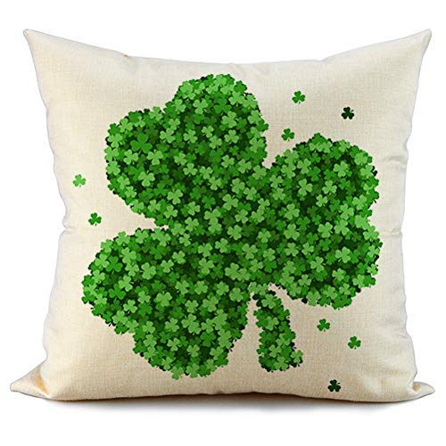 FIBEROMANCE St Patricks Day Pillow Cover 18x18 Green Clover Farmhouse Happy St Patricks Day Decorations Lucky Decorative Cushion Cover Pillow Case for Sofa Couch Spring Home Decor -