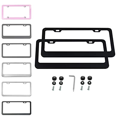 Ibetter 2 PCS Thick Stainless Steel License Plate Frames, Car Licence Plate Holder Covers with Bolts,Washers and Chrome Screw Caps for US Standard (2 Holes Black): Automotive