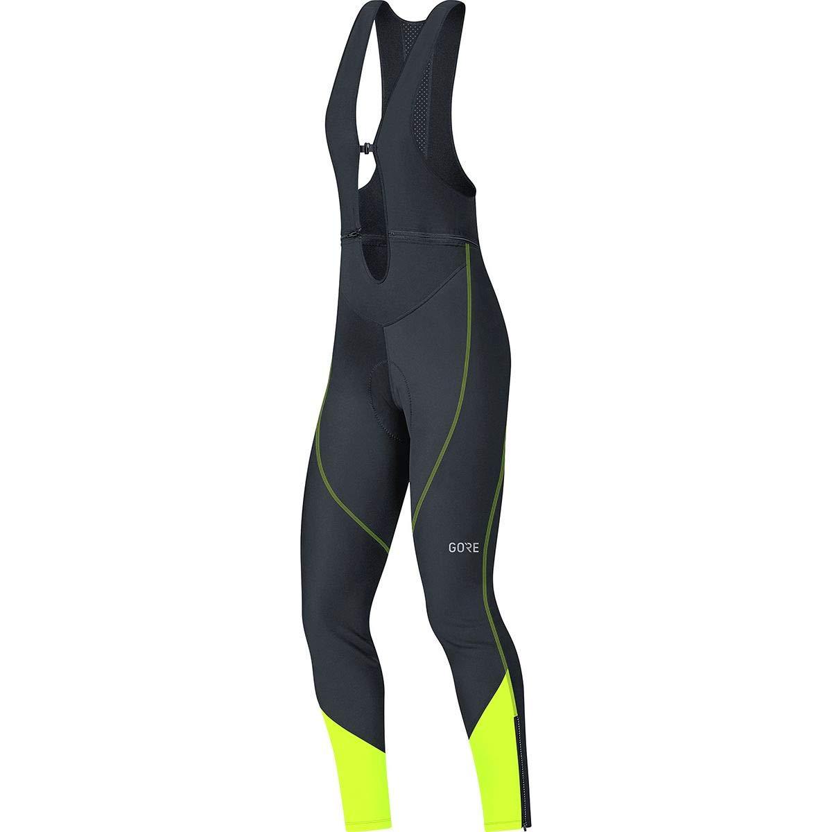 GORE WEAR Women's Long Cycling Bib Tights, C3 Women's Windstopper Bib Tights+, Size: XS, Color: Black/Neon Yellow, 100332