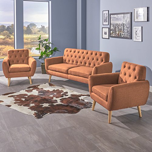 Sofa Club Chair - Christopher Knight Home 301864 Eunice Petite Mid Century Modern Tufted Burnt Orange Fabric 3 Piece Sofa and Club Chairs Set,