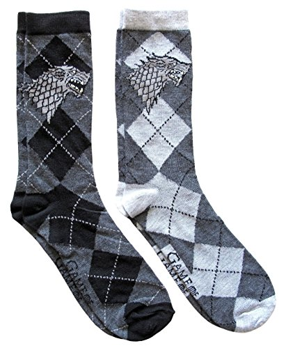 (Hyp Game of Thrones Stark Argyle Men's Crew Socks 2 Pair Pack Shoe Size 6-12)