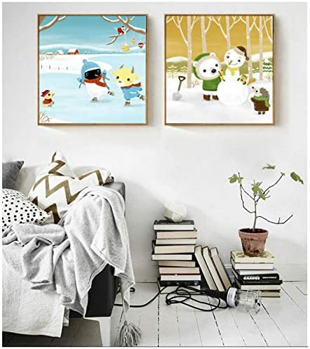 北欧スタイルのシンプルなキャンバスに描かれた雪だるま雪だるまパートナー絵画装飾用キッズルーム壁の写真-50x50x2Pcscmフレームなし