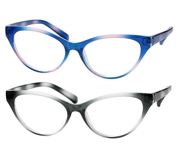 SOOLALA - anteojos de lectura modernas con ojo de gato y lentes  transparentes f305e227198d
