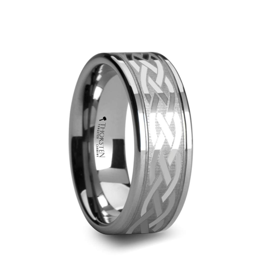 PAETUS Flat Dual Offset Grooved Tungsten Wedding Band Durable Comfort Fit Ring with Celtic Design – 10 mm