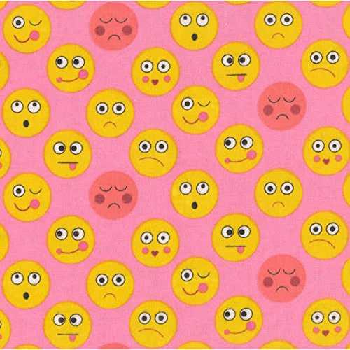 (Michael Miller Flannel Funny Faces Pink Fabric by The Yard)