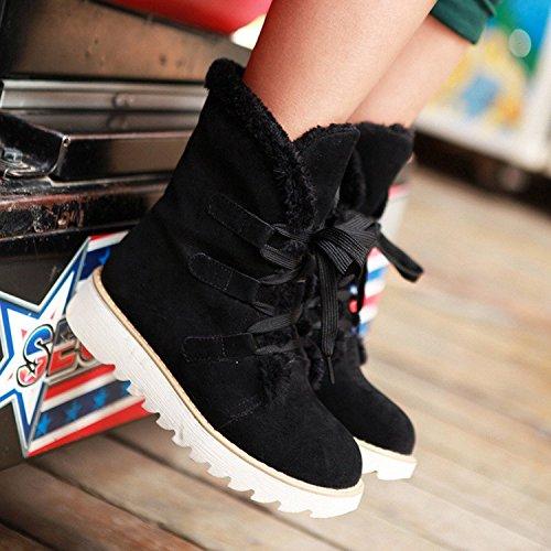 Maybest Femmes Automne Hiver Plat Bottes Mi-mollet Chaud Fourrure Bottes De Neige Chaussures À Lacets Martin Bottes Noires