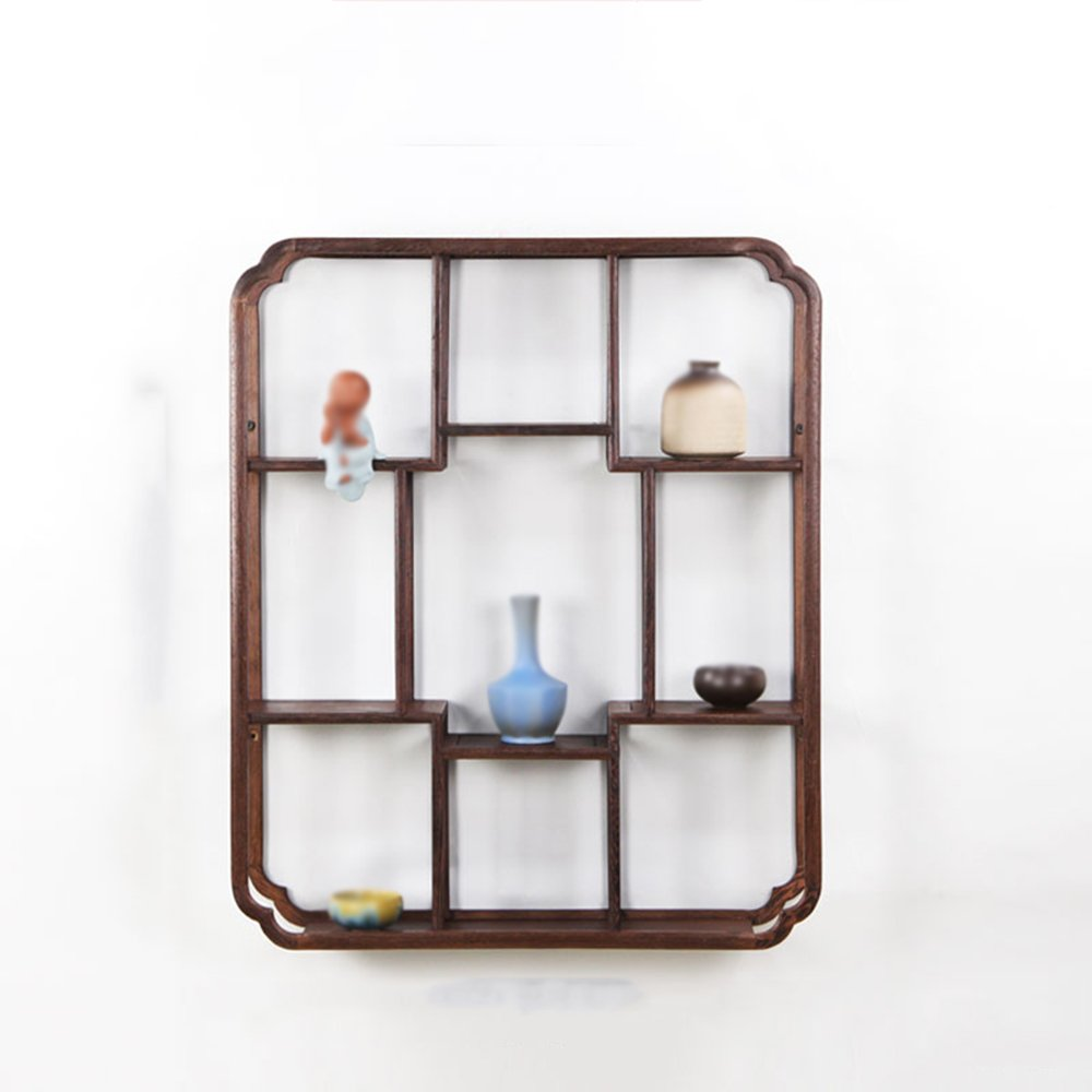 Wall shelf / rectangular wall shelf / living room kitchen wall storage rack / wood Chinese wall mount / antique wall mount / counter display stand / tea room Decoration frame / (50 60cm)