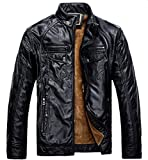Product review for Chouyatou Men's Casual Stand Collar Zip-Up Faux Leather Jacket with Fleece Lined