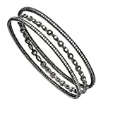 ICE CARATS 925 Sterling Silver Black Plated Cubic Zirconia Cz Three Bangle Set Bracelet Slip On Fine Jewelry Gift Set For Women Heart