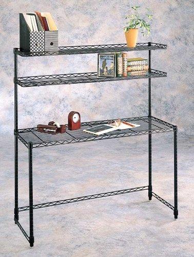 amazon com contemporary wire shelf desk w hutch kitchen dining rh amazon com Wire Garage Shelving Ideas Wire Garage Shelving Ideas