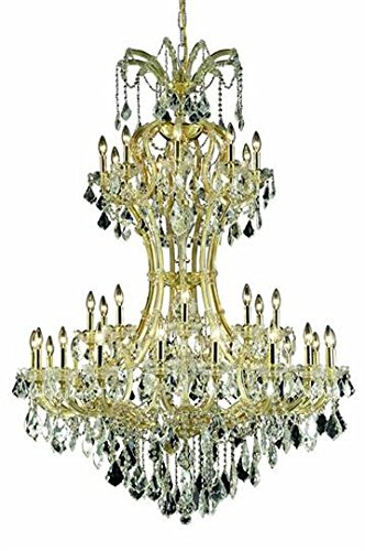 - Karla Gold Traditional 36-Light Grand Chandelier Heirloom Handcut crystal in Crystal (Clear)-2380D46G-RC--46